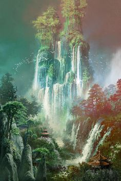 View an image titled 'Waterfalls Landscape Art' in our Blade & Soul art gallery featuring official character designs, concept art, and promo pictures. Fantasy Concept Art, Fantasy Artwork, Fantasy Places, Fantasy World, Fantasy Setting, Animation, Fantasy Landscape, Landscape Art, Environment Design