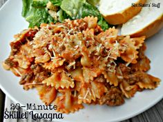 20 Minute Skillet Lasagna Recipe- this is a super quick meal, my whole family loves it..i use sausage instead of ground beef, and the last time I made it, I had to sub cream cheese for the sour cream since I didn't have any..and it was still great.  I also add red wine to the sauce, red pepper flakes, and a little more cheese than necessary :)