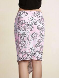 Printed Pencil Slit Skirt - PINK M