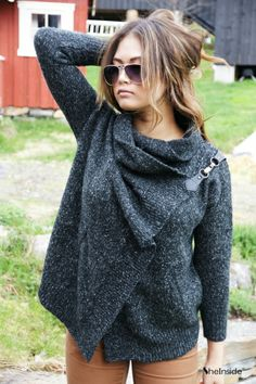 Black Lapel Long Sleeve Ouch Cardigan Sweater » I love this sweater.
