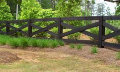 Custom ranch rail / horse fence by Mossy Oak Fence. Great for containing livestock and/or large properties.
