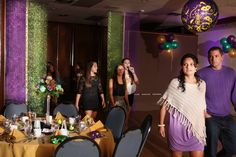 Loving how the shimmery purple, gold, and green ceiling-to-floor draping we created came out!!  Perfect entryway for this sparkling Mardi Gras Sweet 16