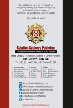 We Cordially #Invite You To Get In #Touch With Us. One Personal Meeting Shall Convince You About Our #Professional Attitude And Approach Together We Can Work Towards A Win-Win Situation.  #UK #USA #Dubai #MyDubai #UAE #England #London #Pakistan http://www.solutionseekerspakistan.com/
