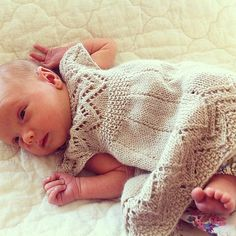 Knitting for Muti Baby Dress with lace collar and hem