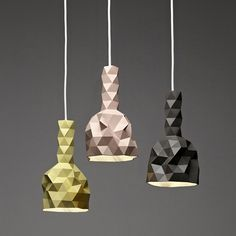 The FACETURE series consists of handmade faceted vessels, light-shades and table. Each object is produced individually by casting a water-based resin into a simple handmade mould. The mould is then manually manipulated to create the each object's form before each casting, making every piece utterly unique.