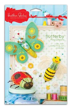 Heather Bailey Flutterby Pincushions Pattern from @fabricdotcom  A bee, two butterflies, and a ladybug. <br><a href=http://d2d00szk9na1qq.cloudfront.net/Images/PDF/HBP-012.pdf>Click here for pattern back.</a> <br>