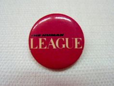 Vintage 80s The Human League Band Logo Pink Pin / by beatbopboom