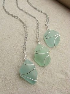 wire wrapped sea glass for bridesmaids by christina carrera