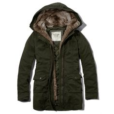 Abercrombie & Fitch Andrea Fur Lined Parka ($59) ❤ liked on Polyvore featuring outerwear, coats, jackets, tops, coats & jackets, olive, olive green parka, army green hooded parka, olive green parka coat and lined parka
