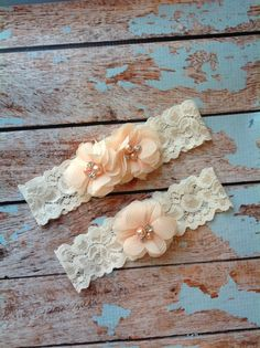 PEACH++CHIFFON++wedding+garter+set+/+by+FallenStarCoutureInc,+$24.99