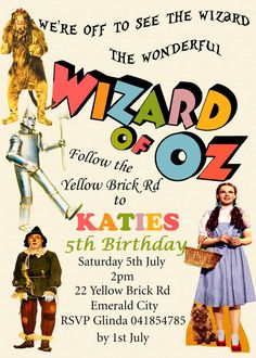 Items Similar To Wizard Of Oz Invitation Personalized Invite Party Childrens Diy Printable 5x7 On Etsy