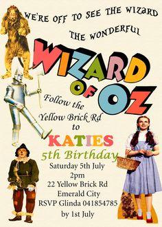 wizard of oz birthday party invitation/ over the rainbow, Birthday invitations
