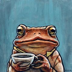 Kelly Vivanco - Frog having coffee Pretty Art, Cute Art, Frog Illustration, Frog Drawing, Frog Pictures, Frog Art, Cute Frogs, Frog And Toad, Hippie Art