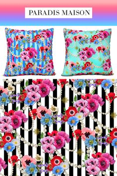 French Poppy Flower Fabric from Paradis Maison Los Angeles Poppy Flower Decor & Pillows