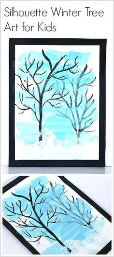 Winter Art Project for Kids: Make winter tree silhouettes in this art activity for children using all kinds of mixed media! ~ BuggyandBuddy.com