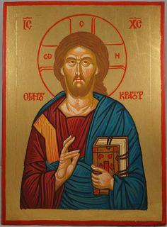 Jesus Christ Pantokrator Hand-Painted Byzantine Icon
