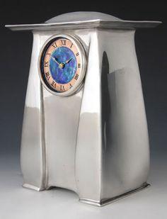Liberty & Co. Pewter & Enamel Clock 0761 - Arts & Crafts attr. CFA Voysey