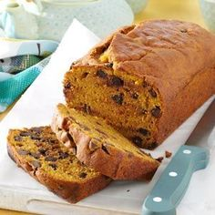 Chocolate Chip Pumpkin Bread Recipe from Taste of Home. Made this a couple weeks ago and it was devoured when I brought it into the office. Only catch is that it takes a long time to bake.