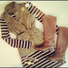 striped knit, military vest, riding boots. obsessed!