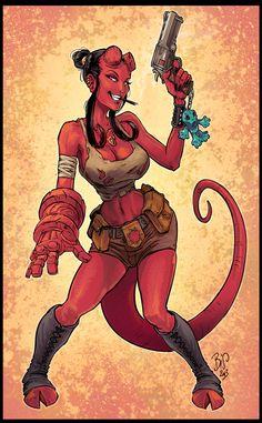 Hellgirl by Chris Regnault on ArtStation. Comic Character, Character Concept, Character Design, Comic Books Art, Comic Art, Evvi Art, Mike Mignola Art, Arte Horror, Comics Girls