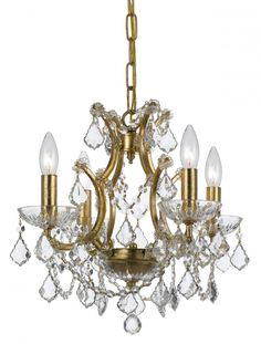 Crystorama Filmore 4 Light Swarovski Strass Crystal Gold Mini-Chandelier