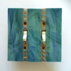 Turquoise Stained Glass Switchplate, Double Toggle Wall Plate, Dimmer Switch Plate, Light Switch Cover, Blue Green Mosaic, 8122