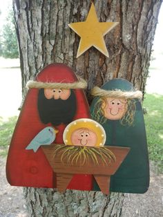 Nativity Standing Wood Christmas Decoration by CaneySpringsCrafts