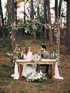Rustic Woodland Sweetheart Table / http://www.deerpearlflowers.com/top-20-rustic-country-wedding-sweetheart-table-ideas/4/