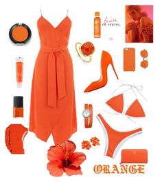 """Orange style"" by senadasisic ❤ liked on Polyvore featuring Warehouse, Christian Louboutin, Mark Cross, ZeroUV, Chaos, Monica Vinader, Kenneth Jay Lane, Baume & Mercier, Lancôme and NARS Cosmetics"