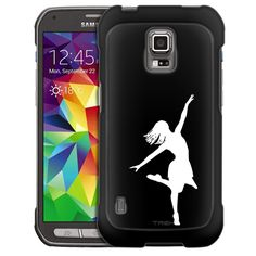 Samsung Galaxy S5 Active Silhouette Dancer on Black Slim Case