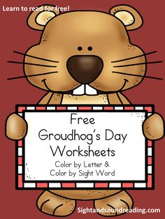 Free worksheets for groundhog's day for beginning readers!  Color by letter and Color by sight word.  #kindergarten #preschool #reading