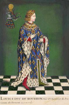Louis I, Duke of Bourbon Bourbon, Merovingian, French Royalty, Clermont, Royal Blood, Saint Louis, Medieval Costume, Medieval Manuscript, Medieval Clothing