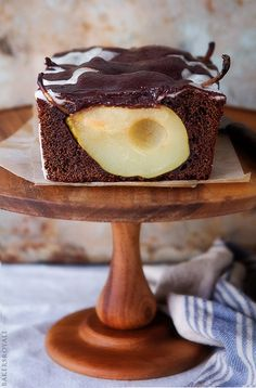 Chocolate Pear Loaf Cake by bakersroyale #Cake #Chocolate #Pear