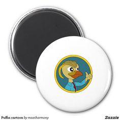 Puffin cartoon 2 inch round magnet