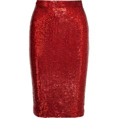 Pencil skirt in red sequined silk found on Polyvore