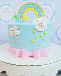 Unicorn Birthday Parties, Birthday Party Decorations, Birthday Cake, Baby Shower Cakes, Bolo Da Hello Kitty, Cake Decorating With Fondant, Rainbow Theme, Just Cakes, Baby Party