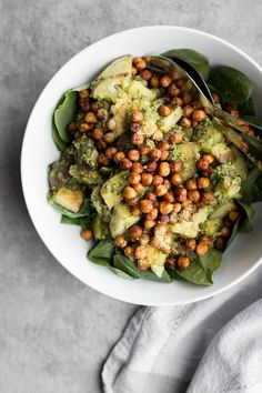 Roasted Potato Pesto Salad with Spicy Chipotle Chickpeas