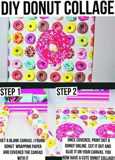 DIY Donut Collage♡ Cute to hang on a boring wall in your room. Origanal idea by Maybaby on YouTube♡