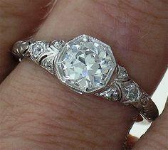 Art Deco Platinum Diamond Filigree Engagement Ring .76ct center Old European cut