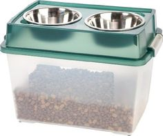 IRIS Airtight Elevated Storage Feeder with 2 Stainless Steel Bowls, 1-Quart, Green