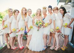 Maids in white (urban outfitters) with multi color footwear   Photography: Custock Photography - custockphotography.com  Read More: http://www.stylemepretty.com/2012/12/12/homemade-california-wedding-from-custock-photography/