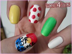 Tour de France nail art Yellow: First place Polka dot: King of the Mountain Green: First place of that day White: Youngest rider