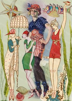 Download and print vintage beauties in swimsuits from the 1920 by the seaside, swimming and playing on the shore, all sized for small format art, able to fit into 2.5 x 3.5 inch cards
