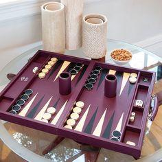 Aubergine Leather Challenge Size Backgammon Set by Geoffrey Parker...