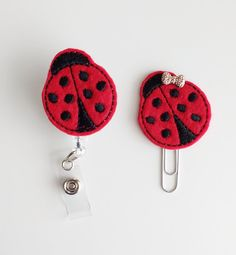 Ladybug Felt Paperclip | Badge Reel | ID Badge | Felt Holder | Lanyard | Planner Clip | Planner Accessories | Spring Feltie | Felt Bug