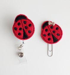 Ladybug Felt Paperclip | Badge Reel | ID Badge | Felt Holder | Lanyard | Planner Clip | Planner Accessories | Spring Feltie | Felt Bug