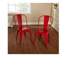 Metal Stackable Chairs Armless Modern Farmhouse Durable Furniture Set of 2 Red #Unbranded #ModernFarmhouse
