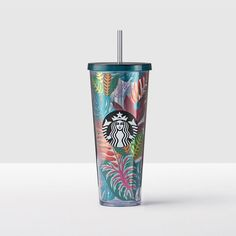 Tropical Plants Cold Cup | Escape the ordinary with this design influenced by the beauty and brightness of tropics.