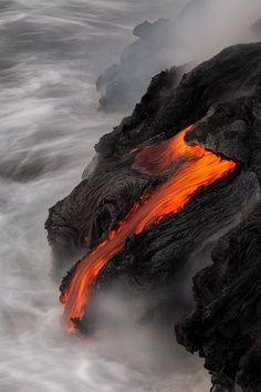 Hot lava flowing into the sea!