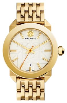 Head over heels for this classic gold watch by Tory Burch that is perfect for everyday wear.